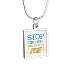 Just Be Awesome Silver Square Necklace