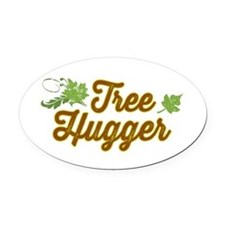 Cute Tree Hugger Oval Car Magnet