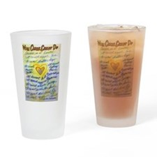 Blue & Gold Heart Cancer Drinking Glass