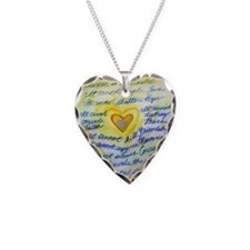 Blue & Gold Heart Cancer Necklace