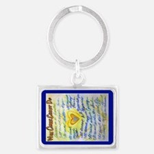 Blue & Gold Heart Cancer Landscape Keychain