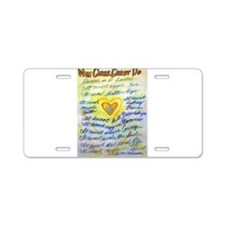 Blue & Gold Heart Cancer Aluminum License Plate
