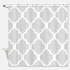 Gainsboro gray quatrefoil pattern Shower Curtain