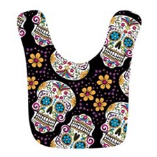 Day of The Dead Sugar Skull, BLACK Bib