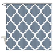 light slate gray quatrefoil pattern Shower Curtain