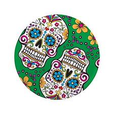 """Sugar Skull Green 3.5"""" Button"""