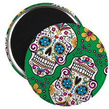 Sugar Skull Green Magnets