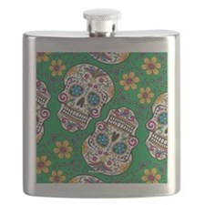 Sugar Skull Green Flask