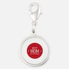Best Mom In The World Silver Round Charm