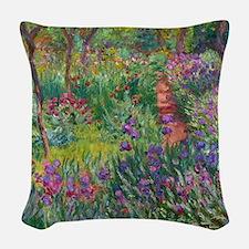 Monet Iris Garden Giverny Woven Throw Pillow