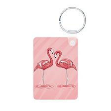 Pink Flamingos Aluminum Photo Keychain