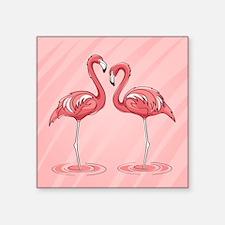 "Pink Flamingos Square Sticker 3"" x 3"""