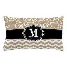 Black Beige Chevron Monogram Pillow Case