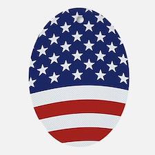 American Flag Waving Ornament (Oval)
