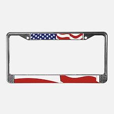American Flag Waving License Plate Frame