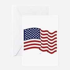 American Flag Waving Greeting Cards