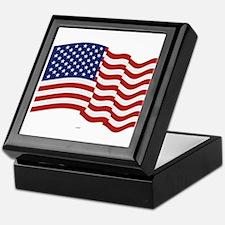 American Flag Waving Keepsake Box