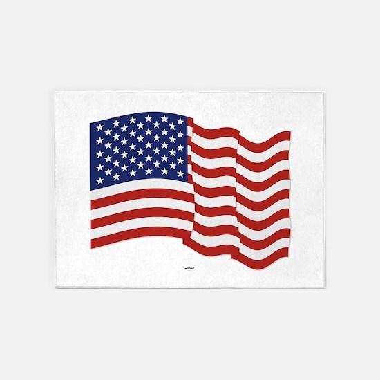 American Flag Waving 5'x7'Area Rug