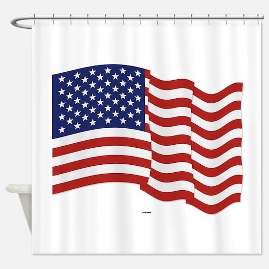 American Flag Waving Shower Curtain
