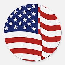 American Flag Waving Round Car Magnet