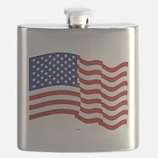 American Flag Waving Flask