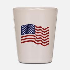 American Flag Waving Shot Glass
