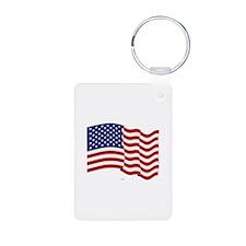 American Flag Waving Keychains
