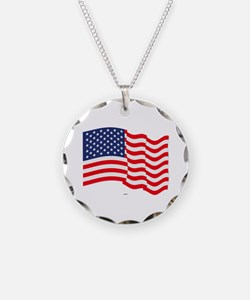 American Flag Waving Necklace