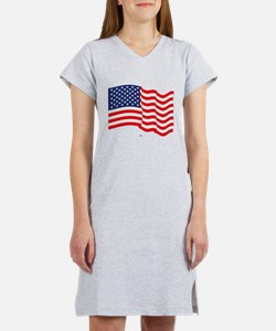 American Flag Waving Women's Nightshirt