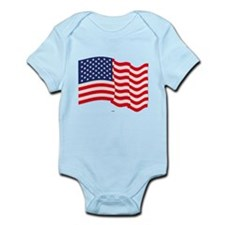 American Flag Waving Body Suit