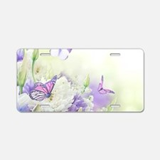 Flowers with Butterflies Aluminum License Plate