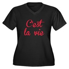 C'est La Vie Women's Plus Size V-Neck Dark T-Shirt
