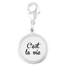C'est La Vie Silver Round Charm