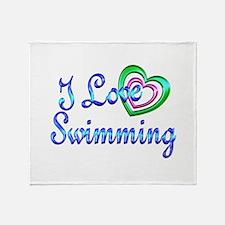 I Love Swimming Throw Blanket