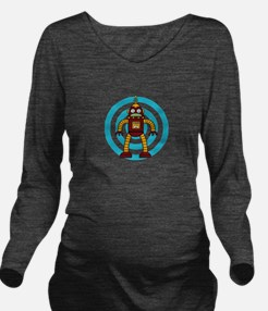 Red/Yellow - Robot Long Sleeve Maternity T-Shirt