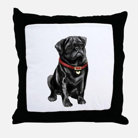 Black Pug (#1) Throw Pillow