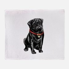 Black Pug (#1) Throw Blanket