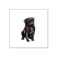 "Black Pug (#1) Square Sticker 3"" x 3"""