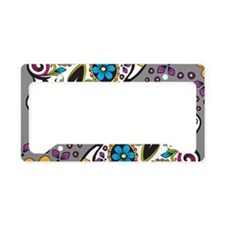 Sugar Skull Grey License Plate Holder
