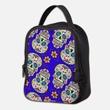 Sugar Skull Midngiht Blue Neoprene Lunch Bag