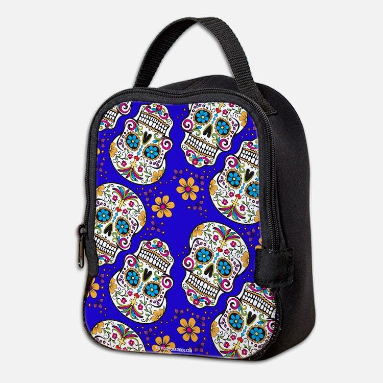 Sugar Skull Midngiht Blue Neoprene Lunch Bag