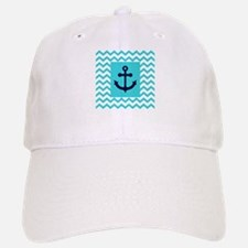 Anchor in Navy and Aqua Baseball Baseball Baseball Cap