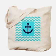 Anchor in Navy and Aqua Tote Bag
