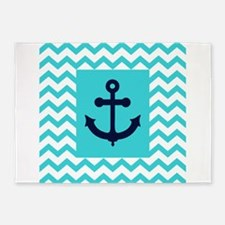 Anchor in Navy and Aqua 5'x7'Area Rug