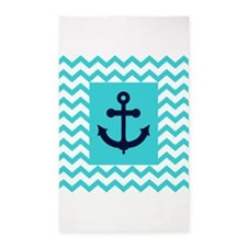 Anchor in Navy and Aqua 3'x5' Area Rug