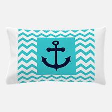 Anchor in Navy and Aqua Pillow Case