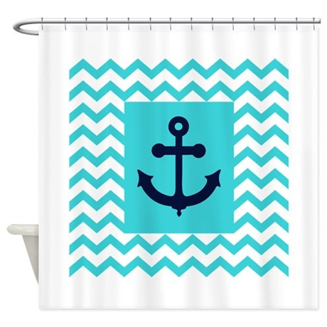 Anchor In Navy And Aqua Shower Curtain
