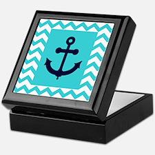 Anchor in Navy and Aqua Keepsake Box