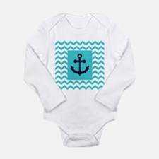 Anchor in Navy and Aqua Body Suit