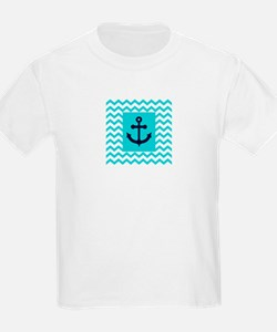 Anchor in Navy and Aqua T-Shirt